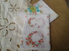 2 Floral Colorful French Hankies - 70's Cotton French Tissues - Red, Blue , Yellow Flowers - Pocket Square -
