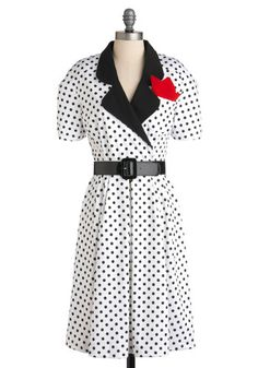 Let's Go Retro Dress by Bettie Page - Long, White, Black, Polka Dots, Vintage Inspired, 50s, A-line, Short Sleeves, Belted, Collared, Fit & Flare  $129.99