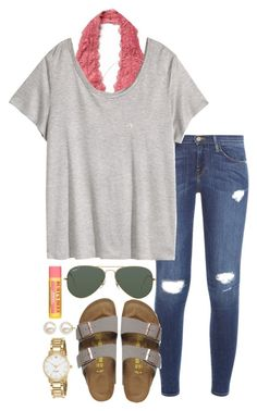 """2nd practice today at 4:00"" by valerienwashington on Polyvore featuring Free People, Frame Denim, H&M, Birkenstock, Honora, Ray-Ban, Shop Latitude Bazaar, Kate Spade and Burt's Bees"
