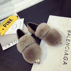 New Winter Women Flats Shoes Real Rabbit Fur Shoes Woman Fashion Thickening Warm Shoes Casual Loafers Pointed Toe free shipping