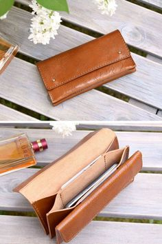 This simple, minimalist wallet for women is handcrafted by me with beautiful, premium quality vegetable tanned Italian leather in camel color leather. Simple, elegant, practical and great for everyday essentials. It features 3 main pockets (one of it with the flap closed with a magnetic