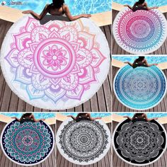 "Mandala Badetuch ""rund"" Tableware, Vibrant Colors, Round Round, Bathing, Summer Recipes, Dinnerware, Dishes"
