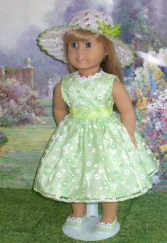 Spring Green Daisies Dress Hat and Shoes for American Girl