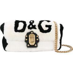 Dolce & Gabbana Lucia shoulder bag (4,753 CAD) ❤ liked on Polyvore featuring bags, handbags, shoulder bags, black, fur purses, chain-strap handbags, locking purse, fur shoulder bag and dolce gabbana purses