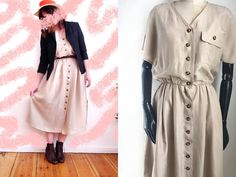 Vintage Betty Barclay SILK dress. Lovely sand colour. Button down front, shirtdress style. Two pockets, in the skirt. Elastic waist. Shoulderpads Skin friendly soft silk. Silk could in the summer. The dress is missing one button in the waist. I suspect it was taken out on purpose, to... #vintage #silk #dress #sand #beige #midi #buttons #cute #fashion #style