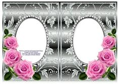 Pink Roses on Silver with Diamonds Double Frames on Craftsuprint - Add To Basket!