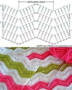 Chevrons Au Crochet, Zig Zag Crochet Pattern, Crochet Bedspread Pattern, Crochet Ripple Blanket, Gilet Crochet, Crochet Square Patterns, Crochet Diagram, Crochet Stitches Patterns, Crochet Designs