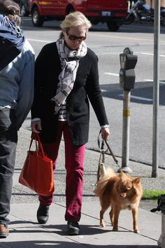 Meryl Streep takes her dog for a walk in Vancouver