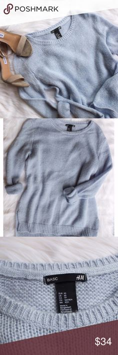 h&m • periwinkle sweater •H&M basics •Periwinkle  •90% acrylic 10% mohair •No signs of wear noted  •Size: x-small  •Please see all pics, read description, and ask questions before purchasing   •No Trades• •15% off 2+ Bundle• H&M Sweaters Crew & Scoop Necks