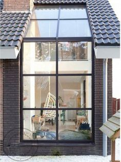 I like this idea but it's kind of ugly. Great idea for skylight-window combo In the Netherlands Méchant Design: renovated farm house Design Exterior, Interior And Exterior, Wall Exterior, Exterior Windows, Skylight Window, Roof Window, Glass Roof, House Extensions, Modern Glass