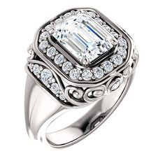 The near-colorless quality of this genuine and brilliant diamond ring is captivating. The center diamond on the engagement ring is 1.5 carats and the smaller ro