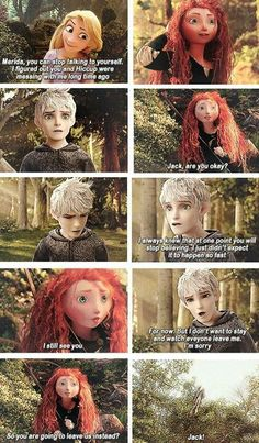 Well if you actually think about it Merida & Hiccup would be able to see Jack but Rapunzel wouldn't because the actual legend of Jack Frost came from Norse mythology & Hiccup is the Norse one Merida lived in Scotland where it snows a lot & her mother is always telling her these stories so we can bet that she told her about Jack but then we get Rapunzel who has been stuck in her tower all her life with three books & Gothel won't have told her about Jack as she wanted to keep Punzie in her…