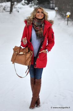 Red winter coat..