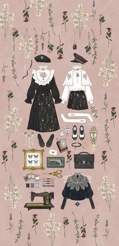 Fashion Ilustration Vintage Dresses Moda New Ideas Vintage Fashion Sketches, Fashion Design Drawings, Fashion Vintage, Drawing Clothes, Anime Outfits, Designs To Draw, Paper Dolls, Cute Art, Fashion Art