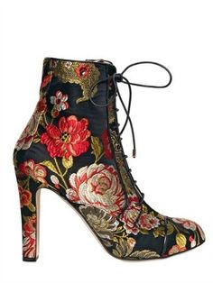 ShopStyle: Bionda Castana For Osman - 100mm Cotton Floral Appliqué Boots
