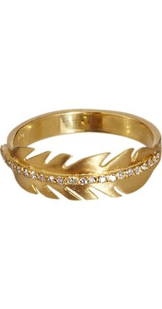 ileana makri diamond & yellow gold feather ring