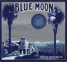 Los Angeles San Fernando Blue Moon Orange Citrus Crate Label Art ...