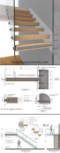 Learn how to design and build cantilevered stairs by understanding the principles and physics behind the construction. Manufacturing drawings available for purchase. #cantilevered #stairs #floating #staircase #fixing #detail Cantilevered Stairs Detail, Timber Staircase, Stair Handrail, Floating Staircase, Staircase Design, Glass Stairs, Stone Stairs, Stone Cladding, Cladding Panels
