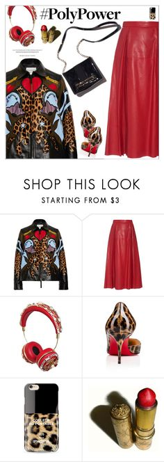 """""""Power Outfit"""" by meyli-meyli ❤ liked on Polyvore featuring Mary Katrantzou, Gucci, Dolce&Gabbana, Christian Louboutin, Iphoria, Revlon and PolyPower"""