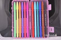 12/PACK Korean Monami Assorted colors watercolor brush pens in pink glitter plastic storage box