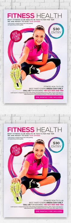 Health, Sports, Fitness Flyers Bundle Flyer printing, Print - fitness flyer template