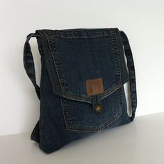 Reclaimed messenger bag , Blue recycled denim cross body bag , Eco friendly jean purse