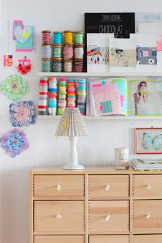 Craft room storage with IKEA picture ledge.- Organised Pretty Home Ikea Storage, Craft Room Storage, Storage Hacks, Storage Area, Office Storage, Home Organisation, Room Organization, Ribba Picture Ledge, Picture Frames