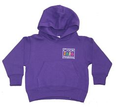 Kids purple 100% cotton hoodie embroidered for Crick pre-school.