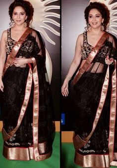 Madhuri Dixit Black Saree At IIFA 2013