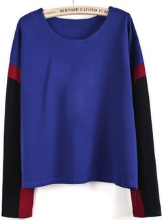 Blue Contrast Long Sleeve Loose Blouse CHF$30.01