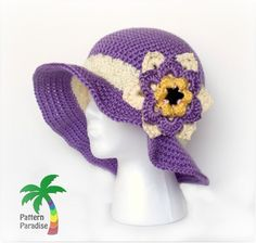 Free crochet pattern for sunhat by Pattern-Paradise.com #sunhat #hat #beachhat…