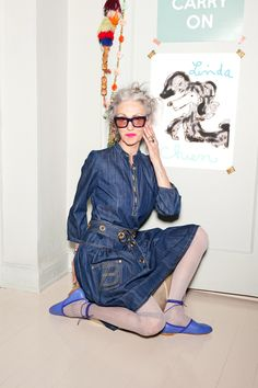 Is embracing your gray hair punk rock or just frumpy? LR makes the case for awesome... Linda Rodin. Photo by Kava Gorna.
