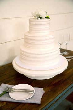 Simple White Tiered Wedding Cake | Favorite Cakes www.theknot.com/... | Mallory Joyce | Aaron Watson Photography www.theknot.com/...