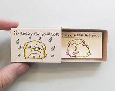 Désolé carte / carte de l'empathie / mignon chiot Matchbox carte message box / « je suis désolé pour votre perte - je suis entendre pour vous » / OT099