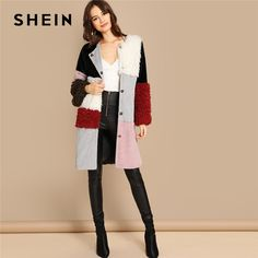 a82895766e SHEIN Multicolor Single Breasted Color-Block Teddy Knee Length Faux Fur Long  Sleeve Coat Winter · Outerwear JacketsOuterwear WomenSleeve ...