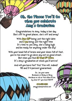 Dr Seuss Graduation Invitation DIY Party by SweetEscapery on Etsy