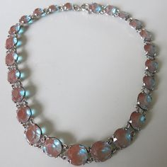 Antique 1910's 1920's Saphiret Glass Silver Open Back Crystal Necklace (sold for EUR 1.472,03)