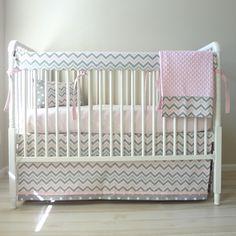 Pink and Grey Zoom Bumperless Crib Rail Bedding Set.. $230.00, via Etsy.