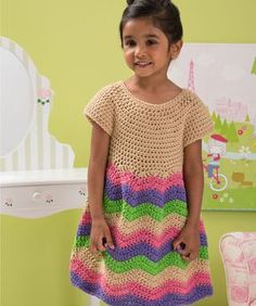 Child's Chevron Dress Free Crochet Pattern from Red Heart Yarns