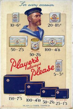 Player's Navy Cut Medium Tobacco and Cigarettes, 1928 Vintage Advertisements, Vintage Ads, Vintage Posters, Cigarette Brands, Affordable Wall Art, Vintage Packaging, Blue Box, Card Reading, Really Cool Stuff