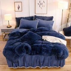 Bed Sets for Dorm Room, Girls Room, or Bedroom. Blue Bedding Sets, Grey Bedding, Bedroom Comforters, Fluffy Bedding, Royal Blue Bedding, Blue Bedspread, Bedspreads, Soft Duvet Covers, Duvet Cover Sets