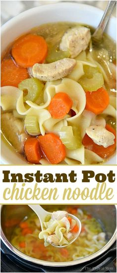 The best Instant Pot chicken noodle soup recipe that takes just 5 minutes and it's done! Super healthy pressure cooker soup recipe we all love! via @thetypicalmom