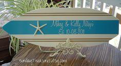 27 inch STARFISH BEACH Wedding SURFBOARD ALTERNaTIVE Guest Book. Wall art.  Photo Prop / Tiffany Blue / 150 Designs 3 sizes. $79.99, via Etsy.