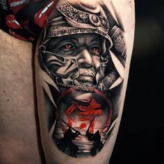 I incredibly have an appreciation for the tones, lines, and linework. This really is a good artwork if you want inspiration for a Tattoos 3d, 16 Tattoo, Skull Rose Tattoos, Body Art Tattoos, Tattoos For Guys, Cool Tattoos, Samurai Tattoo Sleeve, Samurai Warrior Tattoo, Warrior Tattoos