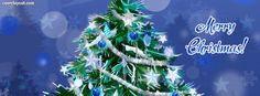 Blue Merry Christmas Tree Facebook Cover CoverLayout.com