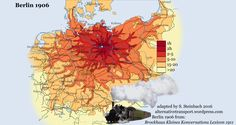isochrone maps starting from Berlin for 1906