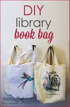Get your kids excited for summer library trips by making this incredibly simple and personalized book bag. It's a fun, fast project that is also inexpensive--you can get everything you need in the craft aisle at WalMart.