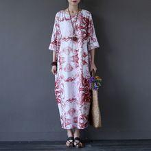 Estilo chino de La Vendimia de Impresión de Las Mujeres Vestido Largo Del…