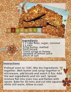 Crunchies - try this recipe though its probably not better than my own South African Desserts, South African Recipes, Crunchie Recipes, Rusk Recipe, Cake Flour, Banana Bread Recipes, No Bake Cake, Cookie Recipes, Sweet Tooth