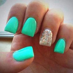 Mint green. Glittery accent nail.